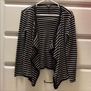 Talbots Black and White Striped Open Front Sweater